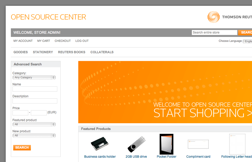 screenshot of Thomson Reuters Intranet Store